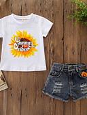 זול אוברולים טריים לתינוקות-סט של בגדים שרוולים קצרים פרחוני / דפוס בנות תִינוֹק