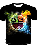 billige T-shirts og undertrøjer til herrer-Herre - 3D / Tegneserie Trykt mønster Basale / Gade T-shirt Sort L