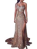 hesapli NYE Elbiseleri-Kadın's Kılıf Elbise - Yuvarlak Noktalı, Payetler Tek Omuz V Yaka Asimetrik