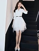 cheap Prom Dresses-Casual Dress A-Line V Neck Short / Mini Tulle Cocktail Party Dress with Sash / Ribbon by LAN TING Express