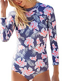 cheap One-piece swimsuits-Women's One Piece Swimsuit Quick Dry Breathability High Elasticity Nylon Spandex Long Sleeve Swimwear Beach Wear Bodysuit Floral / Botanical Front Ziper Swimming Diving Surfing / UPF50+