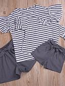 povoljno Obiteljski komplet odjeće-Obiteljski izgled Aktivan Osnovni Jednobojni Prugasti uzorak Print Kratkih rukava Regularna Normalne dužine Pamuk Komplet odjeće Sive boje