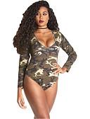 זול בגדי ים במידות גדולות-תלתן XL XXL XXXL דפוס להסוות, בגדי ים חלק אחד (שלם) נועזת תלתן שחור בסיסי בגדי ריקוד נשים