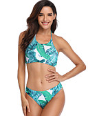 cheap Bikinis-Women's Basic Green Halter Briefs Tankini Swimwear - Floral Print S M L Green