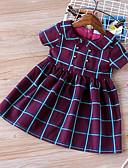 זול סטים של ביגוד לתינוקות-שמלה שרוולים קצרים קולור בלוק בנות תִינוֹק
