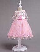 זול שמלות לילדות פרחים-נסיכה באורך  הברך שמלה לנערת הפרחים  - כותנה / סאטן / טול ללא שרוולים עם תכשיטים עם חרוזים / אפליקציות / תחרה על ידי LAN TING Express