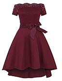 זול שמלות לילדות פרחים-גזרת A סירה מתחת לכתפיים א-סימטרי תחרה / ג'רסי בהשפעת וינטאג' מסיבת קוקטייל שמלה עם פפיון(ים) / תחרה משולבת על ידי LAN TING Express