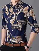 abordables Camisas de Hombre-Hombre Negocios / Tejido Oriental Camisa Geométrico Azul Marino XXXXL