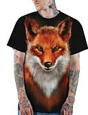 billige T-shirt-Rund hals Tynd Herre - 3D / Dyr Trykt mønster Basale / Gade Plusstørrelser T-shirt Sort / Kortærmet