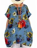 abordables Robes Grandes Tailles-Femme Basique Chic de Rue Mi-long Tunique Robe - Imprimé, Fleur Bloc de Couleur Rouge Fuchsia Vert Véronèse XXXL XXXXL XXXXXL Manches Courtes
