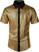 """זול חולצות לגברים-אחיד / גיאומטרי רוק / פאנק & גותיות האיחוד האירופי / ארה""""ב גודל כותנה, חולצה - בגדי ריקוד גברים זהב / שרוולים קצרים"""