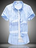 hesapli Erkek Gömlekleri-Erkek Gömlek Çizgili İş / Çin Stili AB / ABD Beden Havuz / Kısa Kollu