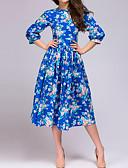 זול שמלות מקרית-עד הברך קפלים טלאים דפוס, גיאומטרי - שמלה גזרת A נדן סווינג סגנון רחוב אלגנטית בגדי ריקוד נשים