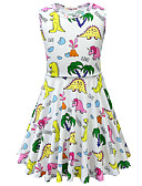 זול שמלות לבנות-שמלה מעל הברך ללא שרוולים חיה / אנימציה דינוזאור פעיל / סגנון רחוב בנות ילדים / פעוטות