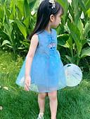 זול שמלות לילדות פרחים-גזרת A באורך  הברך שמלה לנערת הפרחים  - כותנה ללא שרוולים עם תכשיטים עם ריקמה על ידי LAN TING Express