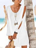 זול שמלות מיני-מיני מפוצל שיפון שמלה ישרה בגדי ריקוד נשים / חגים / ליציאה / חוף