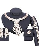 billige Quinceanera Kjoler-Dame Gull Brude smykker sett Link / Kjede Bølge Vintage Strass øredobber Smykker Gull Til Bryllup Engasjement Gave 1set / Øredobber