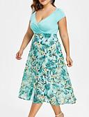 halpa Pluskokoiset mekot-Naisten Pluskoko Mekko - Kukka, Painettu Syvä V Midi