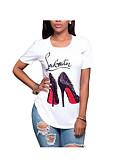 halpa T-paita-Naisten Puuvilla Geometrinen T-paita Valkoinen