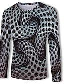 povoljno Muške majice i potkošulje-Majica s rukavima Muškarci - Osnovni / Ulični šik Ležerno / za svaki dan Geometrijski oblici / Color block / 3D Okrugli izrez Print Sive boje / Dugih rukava