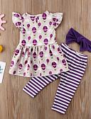זול שמלות לבנות-סט של בגדים כותנה ללא שרוולים דפוס פעיל / בסיסי בנות ילדים / פעוטות