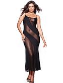זול חלוקים & Sleepwear-בגדי ריקוד נשים מידות גדולות חצאיות - טלאים רשת שחור XXXXL XXXXXL XXXXXXL / סקסית