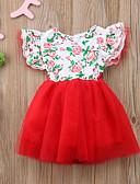 זול סטים של ביגוד לתינוקות-שמלה שרוולים קצרים פרחוני בנות תִינוֹק