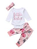 זול אוברולים טריים לתינוקות-סט של בגדים שרוול ארוך פרחוני / דפוס בנות תִינוֹק