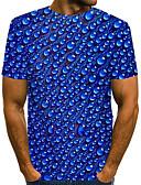 """זול טישרטים לגופיות לגברים-אחיד / מנוקד / 3D צווארון עגול סגנון רחוב / מוּגזָם מועדונים האיחוד האירופי / ארה""""ב גודל טישרט - בגדי ריקוד גברים דפוס כחול ים / שרוולים קצרים"""