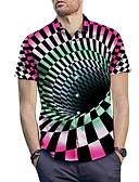 זול טישרטים לגופיות לגברים-3D חולצה - בגדי ריקוד גברים אודם / שרוולים קצרים