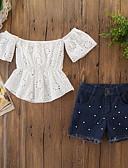 זול לבנים סטים של ביגוד לתינוקות-סט של בגדים שרוולים קצרים פרחוני בנות תִינוֹק