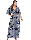 abordables Robes Grandes Tailles-Femme Basique Maxi Trapèze Robe - A Volants Imprimé, Fleur Bleu Marron Rouge XXXXL XXXXXL XXXXXXL Demi Manches