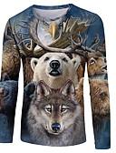 povoljno Muške majice i potkošulje-Majica s rukavima Muškarci - Osnovni / Ulični šik Ležerno / za svaki dan Color block / 3D / Životinja Print Crn US40
