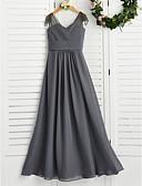זול שמלות שושבינה-גזרת A צווארון V מקסי שיפון שמלה לשושבינות הצעירות  עם סלסולים על ידי LAN TING BRIDE®