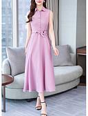 hesapli Print Dresses-Kadın's Sokak Şıklığı Gömlek Elbise - Solid Midi