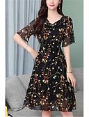 hesapli Print Dresses-Kadın's Şifon Elbise - Çiçekli Diz-boyu