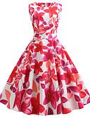 זול מלכת הוינטאג'-עד הברך טלאים דפוס, פרחוני - שמלה גזרת A וינטאג' בגדי ריקוד נשים