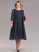זול שמלות במידות גדולות-מידי פאייטים, אחיד - שמלה שיפון מתוחכם אלגנטית בגדי ריקוד נשים