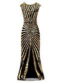 billige Kjoler til nyttårsaften-Havfrue Besmykket Gulvlang Polyester Vintage Inspireret Formell kveld Kjole med Perlearbeid / Paljett av LAN TING Express