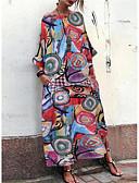 hesapli Bluz-Kadın's Sokak Şıklığı Kombinezon Elbise - Geometrik, Desen Maksi