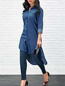 hesapli Gömlek-Kadın's Gömlek Yaka Gömlek Solid Koyu Mavi