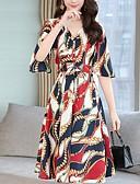 hesapli Print Dresses-Kadın's Temel A Şekilli Elbise - Geometrik Diz-boyu