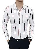 hesapli Gömlekler-Erkek Gömlek Çizgili Temel Beyaz