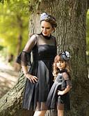 povoljno Obiteljski komplet odjeće-Mama i mene Aktivan Osnovni Jednobojni Čipka 3/4 rukava Do koljena Haljina Crn