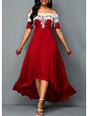 hesapli Kadın Elbiseleri-Kadın's A Şekilli Elbise - Solid Düşük Omuz Asimetrik