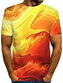 halpa Miesten t-paidat ja hihattomat paidat-Miesten Painettu Color Block / 3D / Solmuvärjätty Katutyyli / Liioiteltu T-paita Keltainen US40 / UK40 / EU48