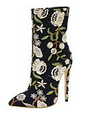 povoljno Nježna čipka-Žene Čizme Stiletto potpetica Krakova Toe Poliester Čizme do pola lista Proljeće & Jesen Crn / Plava