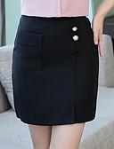 hesapli Kadın Etekleri-Kadın's Temel Mini A Şekilli / Bandaj Etekler - Solid Kırk Yama Havuz Siyah XXL XXXL XXXXL