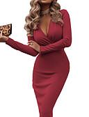 Недорогие Платья-Жен. Облегающий силуэт Платье - Однотонный До колена