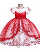 זול שמלות לילדות פרחים-נסיכה עד הריצפה שמלה לנערת הפרחים  - תערובת כותנה\פוליאסטר ללא שרוולים עם תכשיטים עם דוגמא \ הדפס / פרטים מפנינה על ידי LAN TING Express